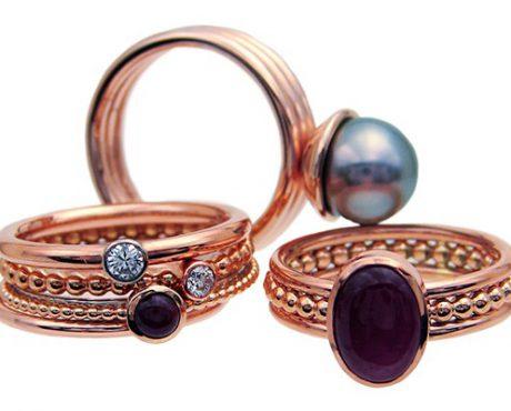 Roodgouden parel en Robijn ring en aanschuifringen roodgoud met Diamant of Robijn