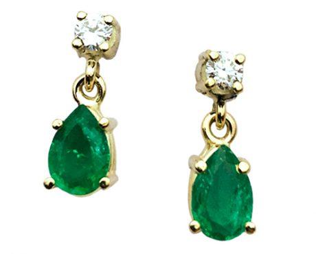 Smaragd peer geslepen oorhangers met Diamant knopjes